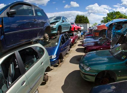 Cars in scrapyard for recycling