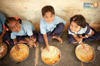 Children smiling for The Akshaya Patra Foundation